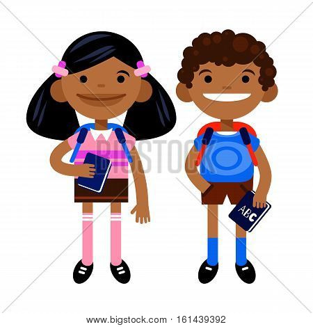 two black students, schoolchild, cute boy and girl in the form of a white background. Vector illustration of a flat design