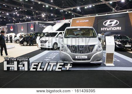 BANGKOK - November 30: Hyundai H-1 Elite+ Touring car on display at Motor Expo 2016 on November 30 2016 in Bangkok Thailand.