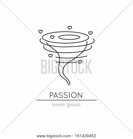 Vector thin line icon, whirlwind with hearts. Metaphor of passion. Logo template illustration. Black on white isolated symbol. Simple mono linear modern design.