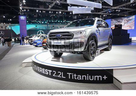 BANGKOK - November 30: Ford Everest car on display at Motor Expo 2016 on November 30 2016 in Bangkok Thailand.