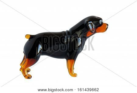 Glass figurine of the dog breed Rottweiler