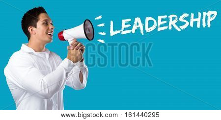 Leadership Leading Success Successful Growth Finances Business Concept Young Man Megaphone