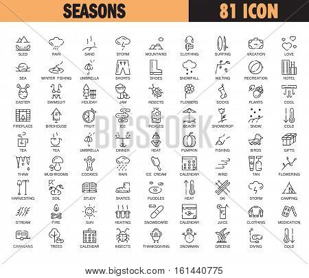 Seasons flat icon set. Collection of high quality outline symbols of winter, spring, summer,autumn for web design, mobile app. 81 thin line vector icons or logo of snow, sun, sea, rain, flower, etc.