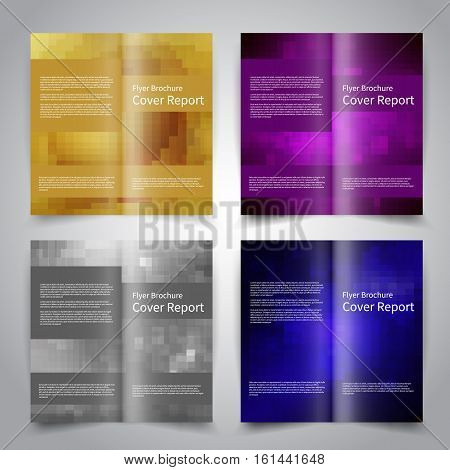 Brochure design templates set with abstract geometric background. Blue gold purple silver colors. Vector brochure mockup EPS10