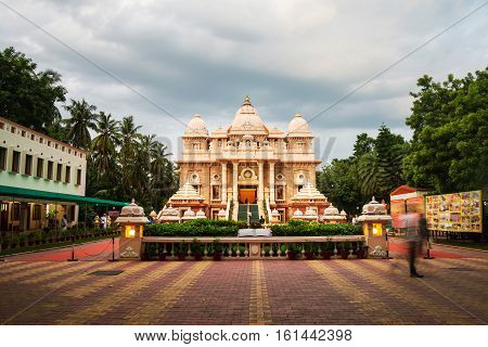 Sri Ramakrishna Math historical building in Chennai Tamil Nadu India in the evening with cloudy sky