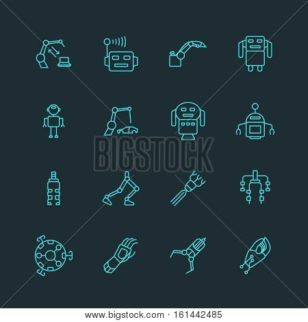Technology prosthesis with artificial intelligence and nanobot icons, robot arm and exoskeleton. Cyborg automation, computer control for cybernetic arm. Vector illustration