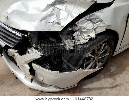 Car crash accident on street damaged automobiles after a collision
