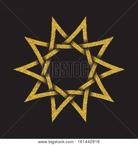 Golden glittering logo symbol in Celtic style on black background. Tribal symbol in ten pointed star form. Gold stamp for jewelry design.
