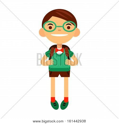 student, schoolchild, cute boy bespectacled on white background. Vector illustration of a flat design