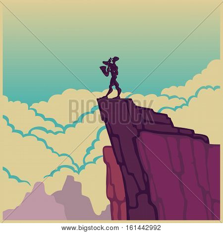 Vector color picture saxophonist on a rock in the clouds. Jazz sax cliff.