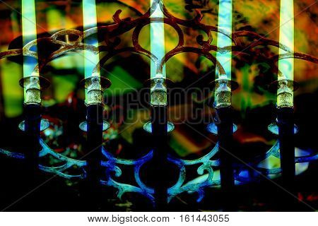 Retro candle holder silhouette, ornamental vintage style decoration on colorful background