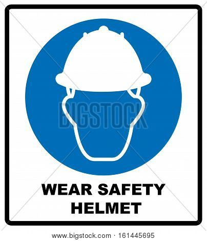 Wear a Safety Helmet Vector Illustration Sign. Information mandatory symbol in blue circle isolated on white. Vector illustration