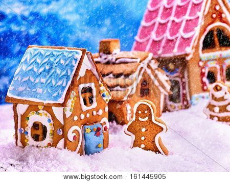 Exhibition gingerbread houses in snow with gingerbread man and gingerbread Christmas tree in snow. Christmas food concept.