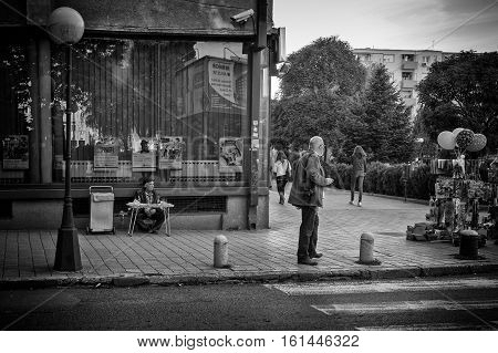 Kumanovo Macedonia - September 22 2016: People and street scene from Kumanovo Macedonia