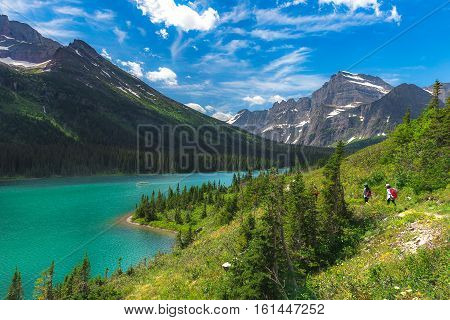 Beautiful View Of Josephine Lake On Grinnel Glacier Trail