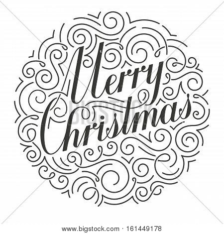 Ornate Christmas card. Original calligraphy. Hand drawn typographic inscription isolated on white background. EPS10 vector illustration.