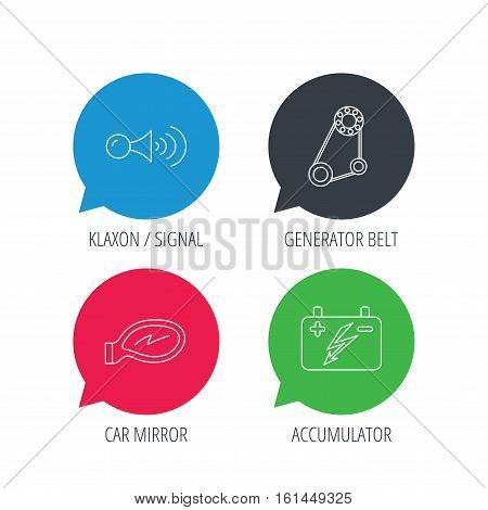 Colored speech bubbles. Accumulator, klaxon signal and generator belt icons. Accumulator linear sign. Flat web buttons with linear icons. Vector