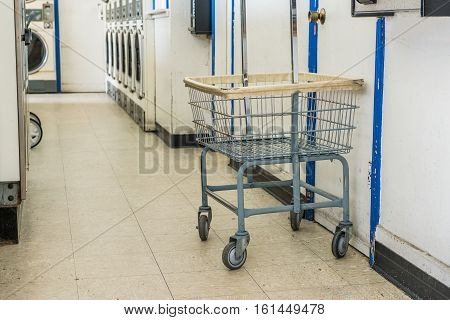 Laundry cart in laundry store, Business concept