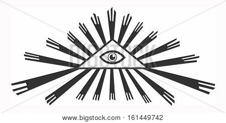 isolated all-seeing eye in a triangle radiating rays