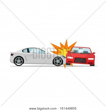 Car crash vector illustration flat cartoon style, two automobiles collision, auto accident scene isolated on white background