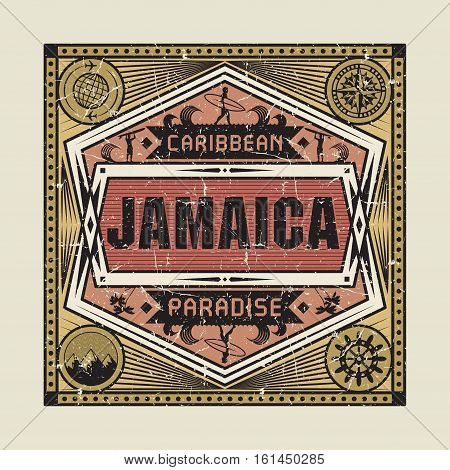 Stamp badge or vintage emblem with text Jamaica Caribbean Paradise vector illustration