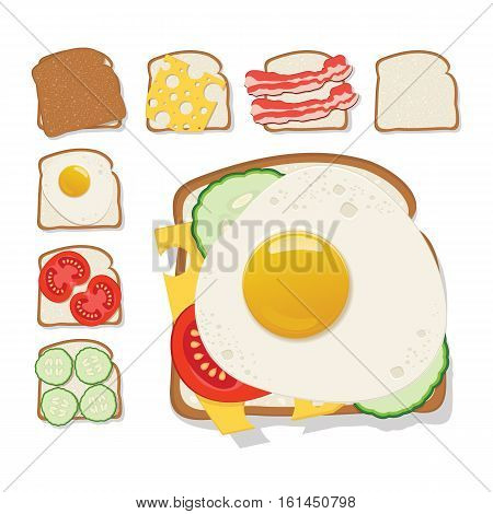 Toasts icon. Set of toast with cheese cucumber bacon tomato and a fried egg. Flat design. Vector illustration.
