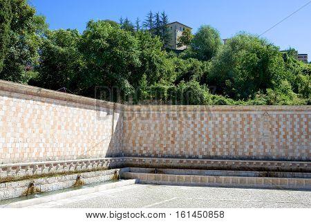 Italy L'Aquila the Novantanove Cannelle fountain (XIII-XVI century)