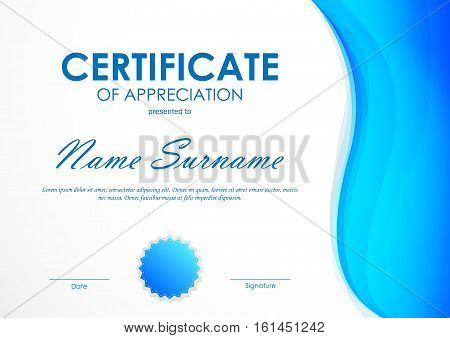 Certificate of appreciation template with blue wavy light background and seal. Vector illustration