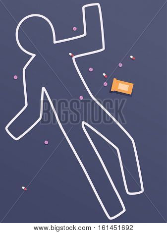 Conceptual Illustration of a Chalk Outline at a Crime Scene Surrounded by Pills to Demonstrate the Dangers of Drug Abuse