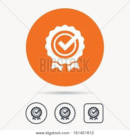 Award medal icon. Winner emblem with tick symbol. Orange circle button with web icon. Star and square design. Vector