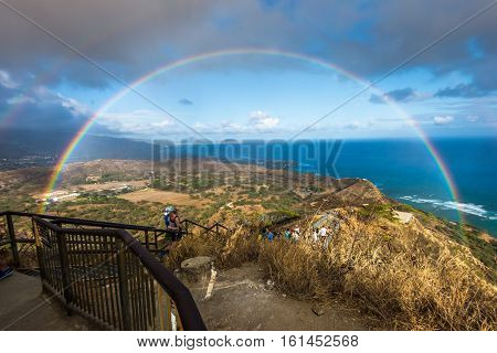 Beautiful Rainbow from Diamond Head Overlook Hawaii