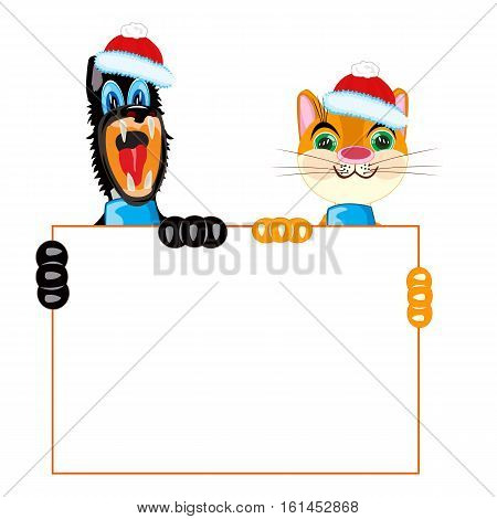 Pets animals cat and dog with white poster