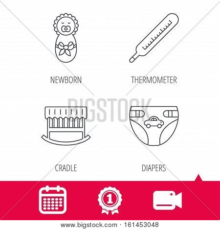Achievement and video cam signs. Newborn, diapers and thermometer icons. Cradle bed linear sign. Calendar icon. Vector