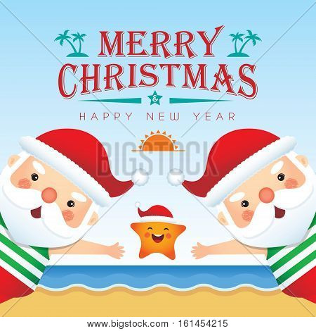 Merry Christmas greetings of cute cartoon santa claus wearing tank top, short pants & slipper together with cute starfish on beach background. Summer Christmas vector illustration. Happy holiday.