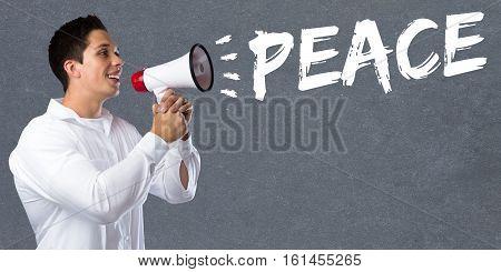 Peace war peaceful concept young man megaphone bullhorn
