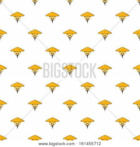 Man in chinese conical hat pattern. Cartoon illustration of man in chinese conical hat vector pattern for web