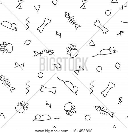 Seamless pattern for card, paper, scrapbook, wrapping, backdrop, texture. Pet background bones, paws trail, fishbones and geometric figures. Black line on white backdrop. Vector illustration