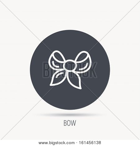 Gift bow icon. Present decoration sign. Ribbon for packaging symbol. Round web button with flat icon. Vector