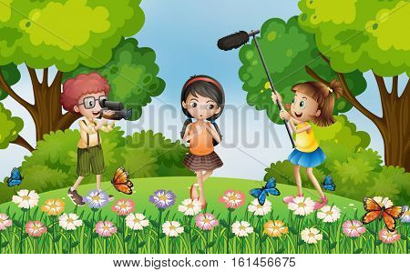 Children filming video in the park illustration