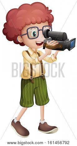 Boy filming with vdo camera illustration