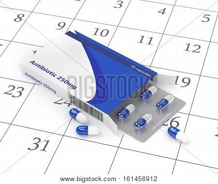 3D Rendering Of Antibiotic Pills Blister In Pack Lying On Calendar
