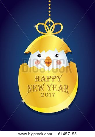 Happy New Year 2017 of cute chick with golden egg isolated on blue background. New Year decoration element. Vector illustration.