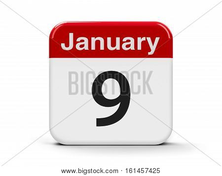Calendar web button - The Ninth of January three-dimensional rendering 3D illustration