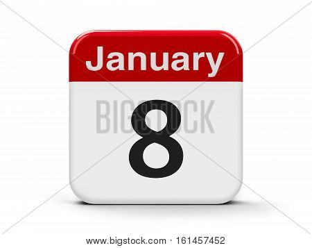 Calendar web button - The Eighth of January three-dimensional rendering 3D illustration