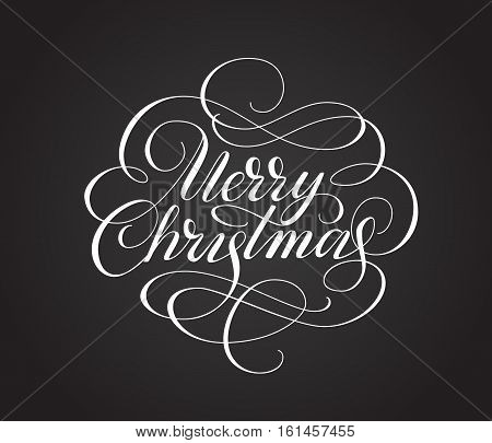 Merry christmas lettering with swirls. Hand drawn text, calligraphy for your design. Eps10 vector illustration