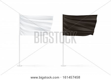 Blank black and white flag mockup set waving 3d rendnering. Clear rippled flagpoles design mock up isolated. Poles with banners on wind. Business branding cloth pennon. Clean pillars presentation.
