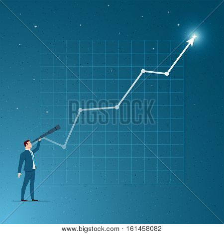 Business concept vector illustration. Growth, success, vision, business opportunities, seeing future concept. Elements are layered separately in vector file.