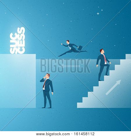 Business concept vector illustration. Success, promotion concept. Elements are layered separately in vector file.
