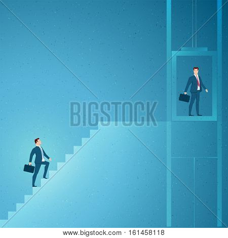 Business concept vector illustration. Achieve quickly, success concept. Elements are layered separately in vector file.
