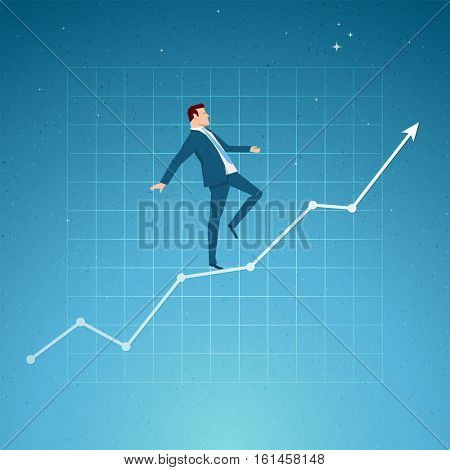 Business concept vector illustration. Growth, balance, success concept. Elements are layered separately in vector file.